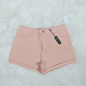 Charlotte Russe Pink High Rise Roll Up Shorts